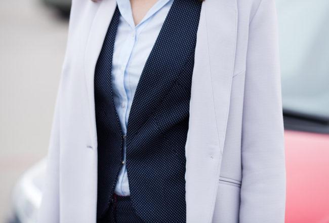 komplet damski kostium ze spodniami stylizacja